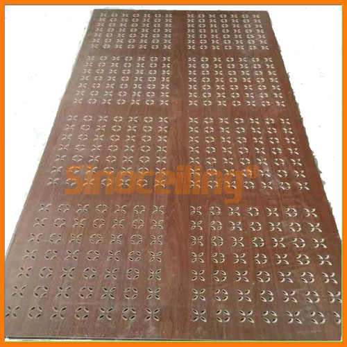 perforated gypsum board wooden color